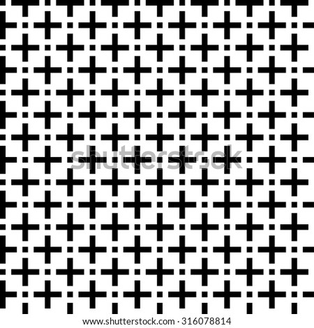 black and white fashion prints patterns made with '+' plus sign - stock vector