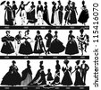 Black and white 1800-1900 fashion silhouettes are dancing and walking, vector, illustration - stock vector