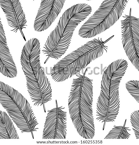 black-and-white Feather seamless background.   - stock vector