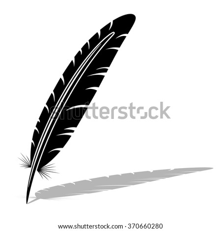 Black and white feather vector silhouette. - stock vector