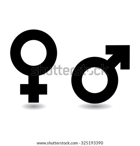Black and white female male symbols with drop shadow - stock vector