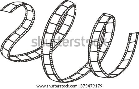 Black and white film strip hand drawn illustration