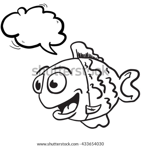 black and white fish with speech bubble cartoon