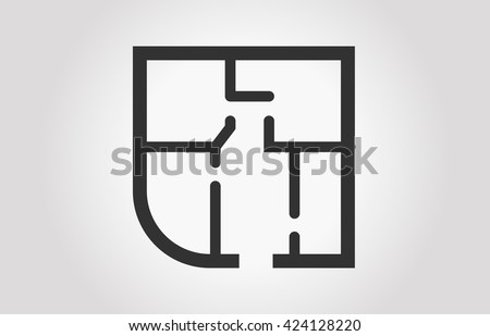 Black And White Floor Plan Of A Apartment Eps 10 Technical Vector Illustration