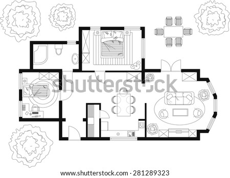 Black White Floor Plan House Stock Vector 281289323 - Shutterstock