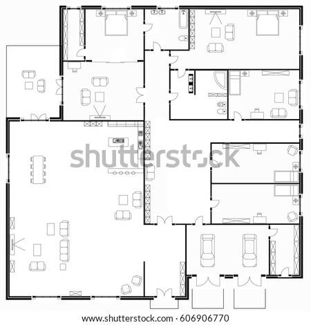 Black White Floor Plans Modern Apartment Stock Vector