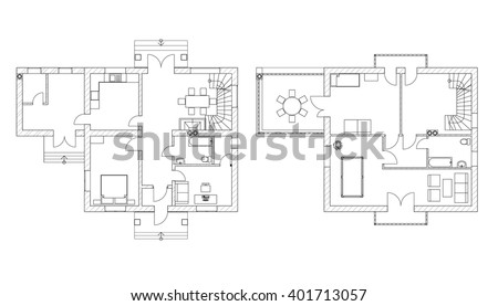 Black And White Floor Plans Of A Modern Apartment Vector Interior Design Architectural Background