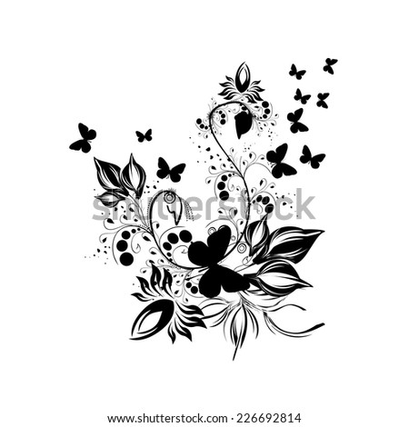 Black and white floral abstraction with butterflies. Vector  - stock vector