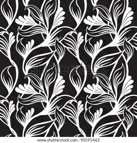 black and white floral background  - vector illustration - stock vector
