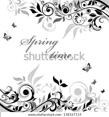 Black and white floral banner - stock vector