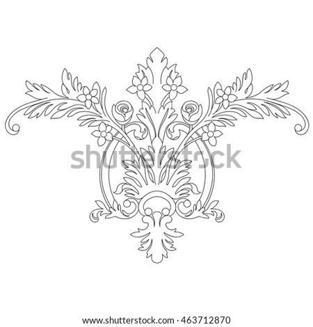 Black and white floral ornamental pattern. Vector illustration.