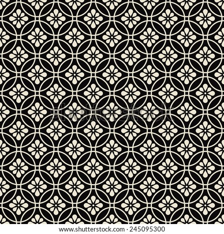 black and white floral pattern. black and white seamless floral pattern. - stock vector