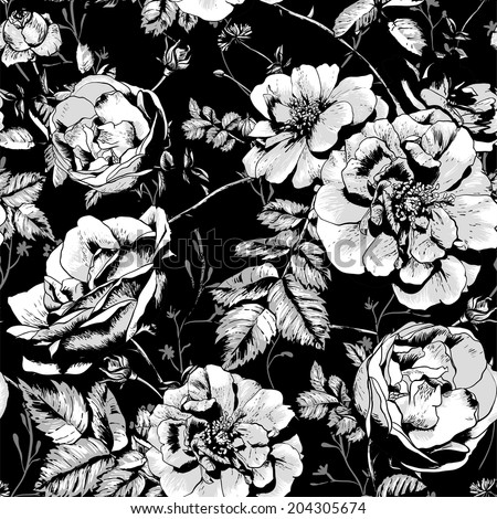 Black and White Floral Seamless Background with roses in vintage style. Vector illustration  - stock vector