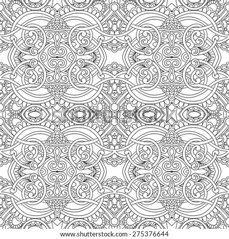 Black and white floral seamless pattern, hand drawing background, vector illustration - stock vector