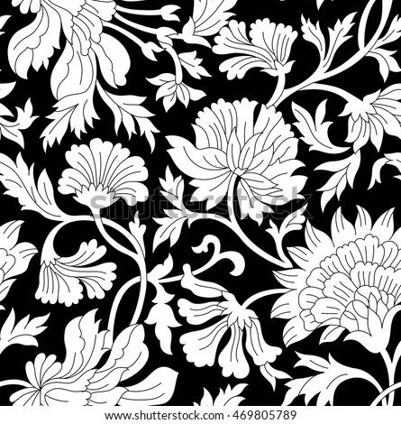 Black And White Floral Vintage Pattern