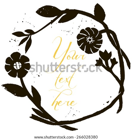 Black and White floral wreath illustration background. Romantic concept background with flowers. Perfect for wedding invitation or greeting card. Wedding frame. Floral wreath in retro style.  - stock vector