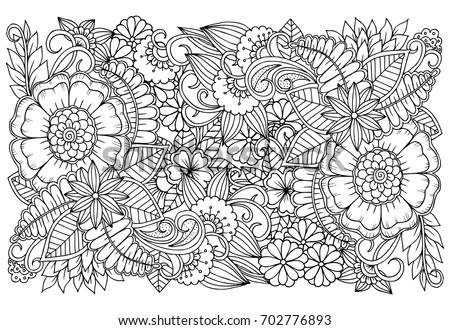 Black White Flower Pattern Adult Coloring Stock Vector 702776893 ...