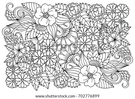 Black White Flower Pattern Adult Coloring Stock Vector (Royalty Free ...