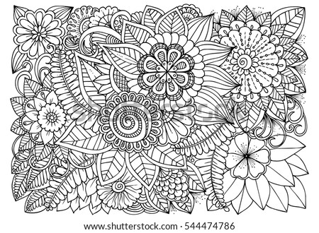Black White Flower Pattern Coloring Doodle Stock Vector