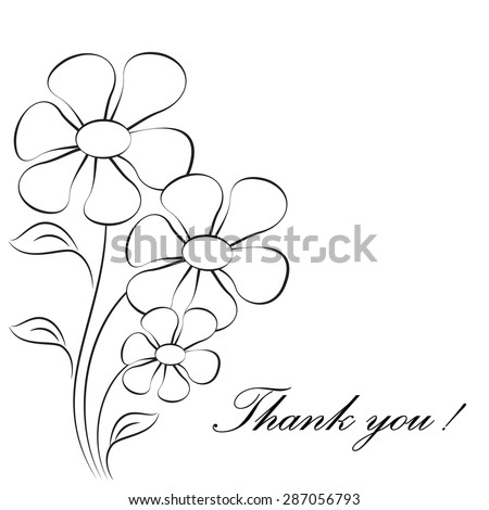 Black and White Flowers on White Background, Flower Card, Thank You Card
