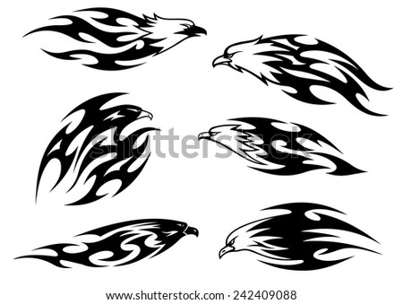 Black and white flying eagles, falcons and hawks in tribal style for tattoo design - stock vector