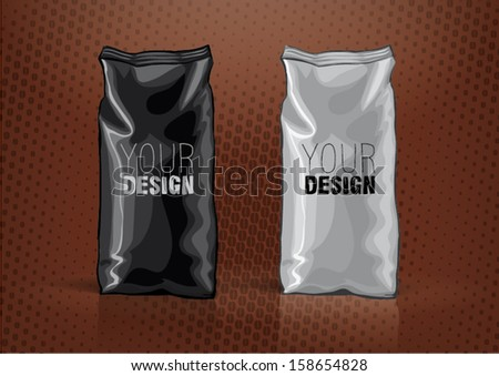 Black and white foil bag for new design. Sketch style - stock vector