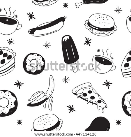 Black and white food background.