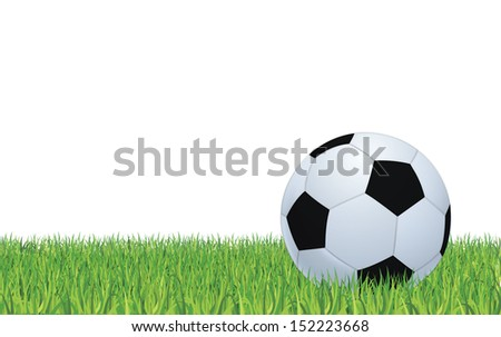 Black and white football or soccer ball, color illustration  - stock vector