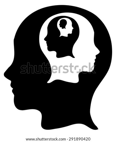 Black and white fractal head silhouette - vector illustration - stock vector