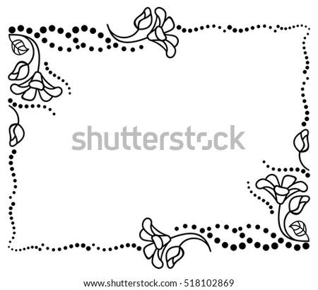 Black White Frame Outline Decorative Flowers Stock Vector 518102869 ...