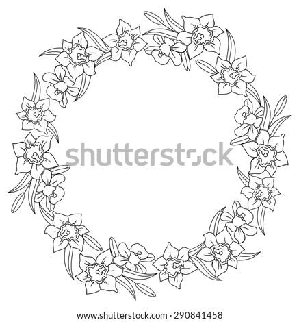 Black and white frame with lilies - stock vector