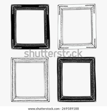 Black and white frames. Vector objects.