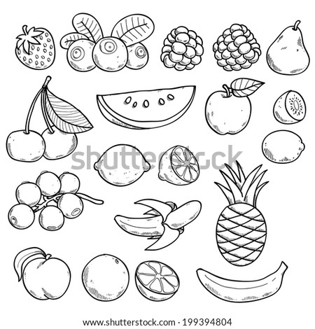Black and white fruits and berries in hand drawn sketch style.