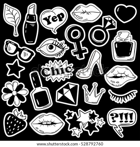 Black and white fun set of girls fashion stickers icons emoji pins or