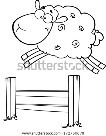 Black And White Funny White Sheep Jumping Over The Fence. Vector Illustration Isolated on white - stock vector