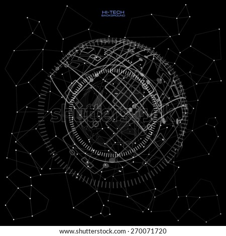 black and white futuristic user interface. Abstract polygonal space low poly dark background with connecting dots and lines. Connection structure. Polygonal vector background.   - stock vector