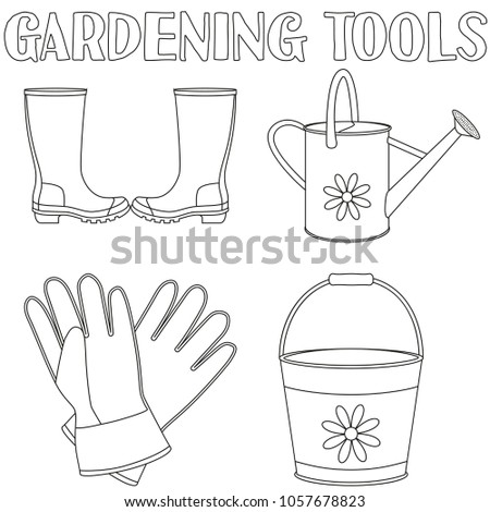 Black And White Garden Watering 4 Elements Set Coloring Book Page For Adults Kids