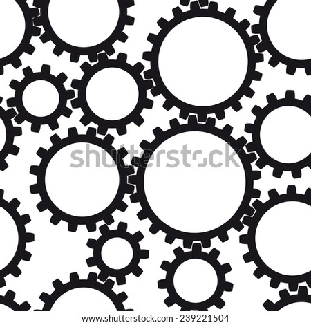 Black and white gear seamless background - stock vector