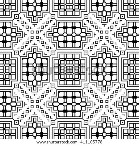 Black and white geometric background seamless pattern, repeating monochrome fabric texture. Tribal ethnic ornament, vector decorative graphic illustration - stock vector