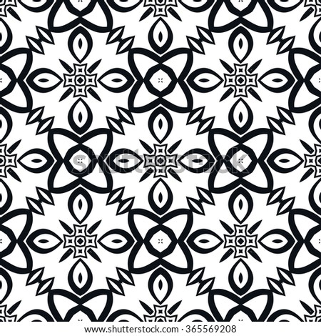 Black and white geometric background seamless pattern, repeating monochrome texture. Tribal ethnic ornament, vector illustration. - stock vector