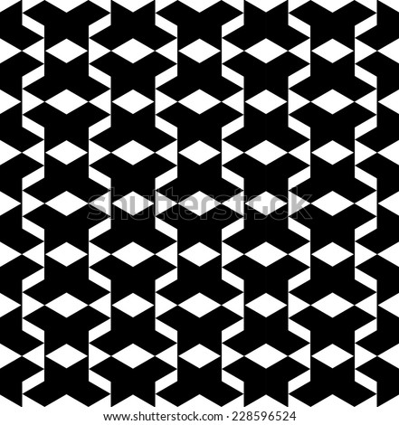 Black and white geometric seamless pattern, abstract background, vector, eps10