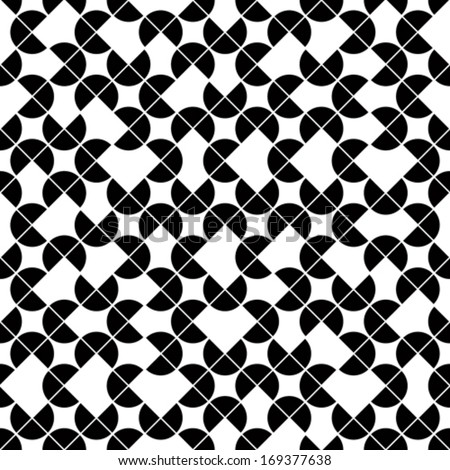 Black and white geometric seamless pattern, vector contrast spherical background. - stock vector
