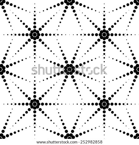 Black and white geometric seamless pattern with circle, abstract background, vector, illustration.