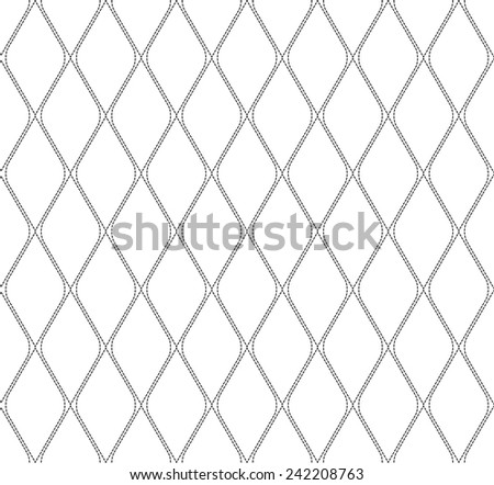 Black and white geometric seamless pattern with dashed line, abstract background, vector, illustration.