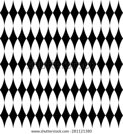 Black and white geometric seamless pattern with diamond. Abstract background. Vector seamless pattern.