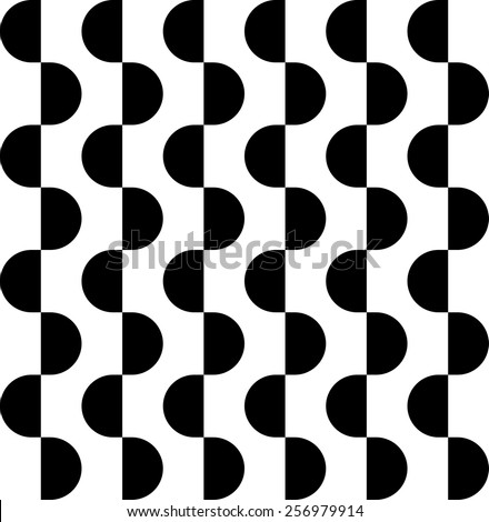 Black and white geometric seamless pattern with semicircle, abstract background, vector, illustration. - stock vector