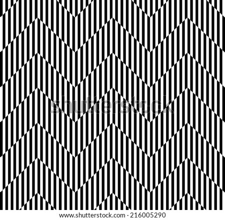 Black and white geometric seamless pattern with stripe and zigzag line abstract background, vector - stock vector