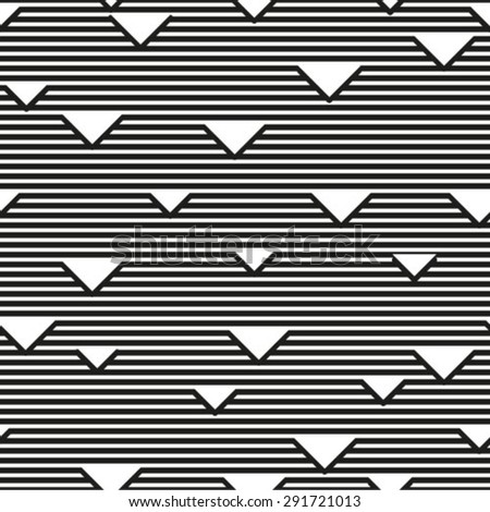 Black and white geometric seamless pattern with triangle and lines, abstract background, vector.