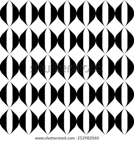 Black and white geometric seamless pattern with wavy stripe line, abstract background, vector, illustration.