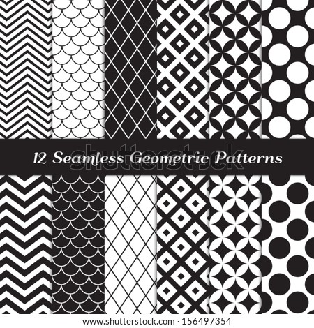 Black and White Geometric Seamless Patterns. Retro Mod Backgrounds in Chevron, Polka Dot, Diamond, Checkerboard, Stars, Triangles, Herringbone and Stripes Patterns. Pattern Swatches with Global Colors - stock vector